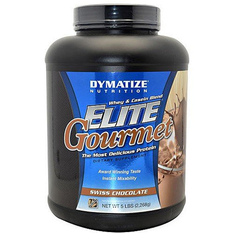 Dymatize Nutrition Elite Gourmet Swiss Chocolate Protein Dietary Supplement 5 LBS (Pack of 1) + (Vitaminder Power Shaker Bottle, 20 oz Bottle)