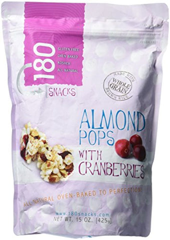 180 Snacks Almond Pops With Cranberries 15 oz Value Bag