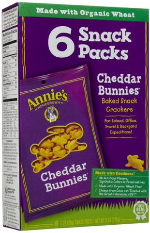 Annie's Homegrown Snack Pack Cheddar Bunnies, 1 oz, 6 ct