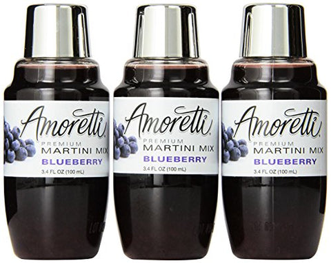 Amoretti Premium Martini Cocktail Mix Minis, Blueberry, 3.4 Fluid Ounce