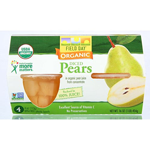 Field Day Pears Organic Diced Cup 4 oz. 4-Count (Pack of 6)
