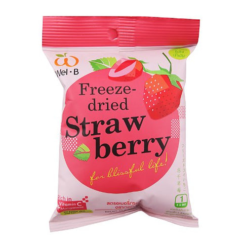 Wel-B Freeze-dried Strawberry, Freeze-dried Fruit Snack Unsweetened and 0% Fat, Real Healthy Snack 15g. (Pack3)