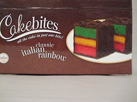 Cakebites Classic Italian Rainbow Cake, Package of 24! Tri-color cake.