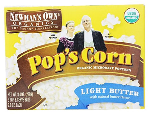 Newman's Own Organics Microwave Popcorn - Light Butter - 8.4 oz