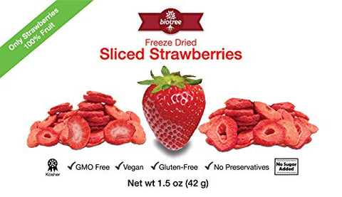 Delicious Strawberry Snack - All Natural Freeze Dried Sliced Strawberries: 100% Fruit with No Added Sugar, No Preservatives. Vegan, GMO Free, Kosher, Gluten-Free,Paleo, Delicious and Healthy Snack for Children and Adults, Tastes Great, Add to Smoothies, O