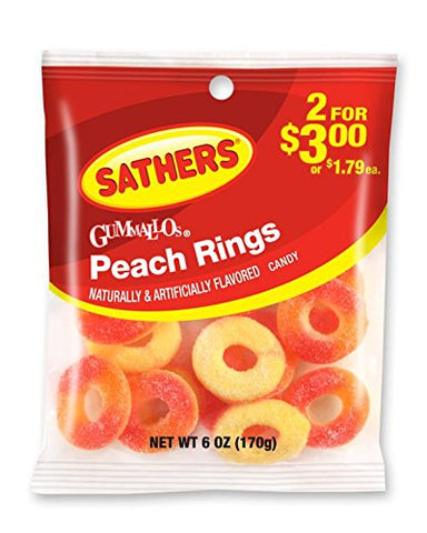 Sathers Gummallo's Rings, Peach, 6 Ounce Bag, Pack of 12