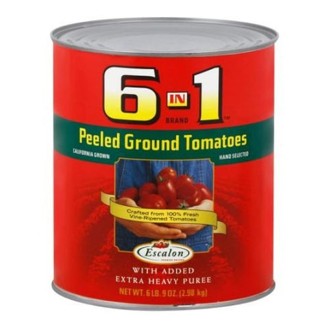6 in 1 All Purpose Peeled Ground Tomatoes, 105 Ounce -- 6 per case.