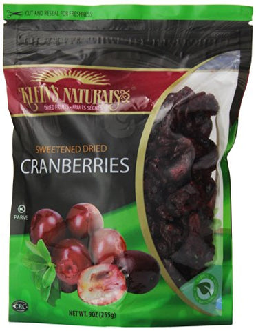 Klein's Naturals Sweetened Dried Cranberries, 9-Ounce Pouches (Pack of 3)