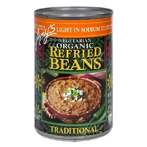 Amy's Light in Sodium Organic Traditional Refried Beans, 15.4-Ounce Cans (Pack of 6)