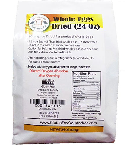 24 OZ (1.5 lb) Whole Egg Powder (Non-GMO, Pasteurized, Made in USA, 1 Ingredient no additives, Produced from the Freshest of Eggs)