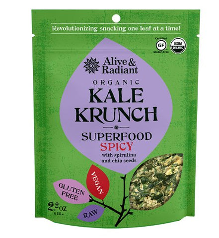 Alive and Radiant Foods Organic Superfood Spicy Kale Krunch, 2.2 Ounce -- 12 per case.