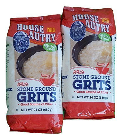 House Autry White Stone Ground Grits, Gluten-Free, 24 Oz. (Pack of 2)