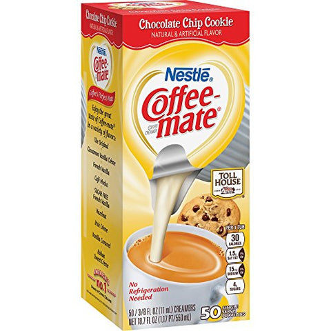Coffee-mate Liquid Coffee Creamer, TH Chocolate Chip Cookie, 0.375oz Mini Cups, 50/Bx NES CHOCCKCRMR