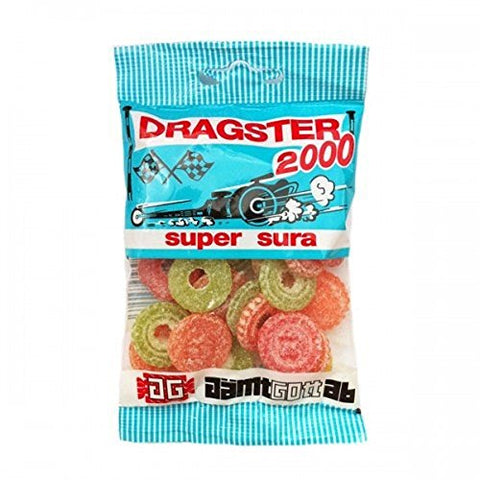 25 Bags x 50g of Dragster 2000 Super Sura - Original - Swedish - Mix - Fruit - Sour - Wine Gums - Candies - Sweets