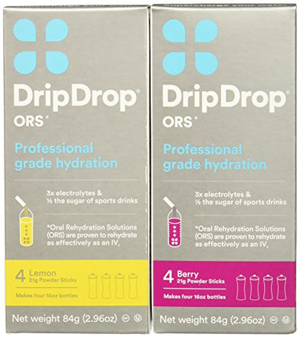 DripDrop ORS Gluten Free Hydration Powder 4 Packet Boxes, Lemon, 2 Count