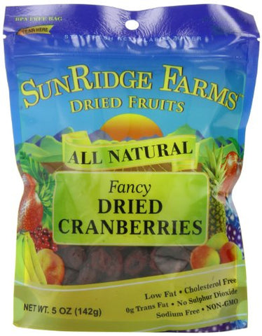 Sunridge Farms Dried Unsulphured Cranberries, 5-Ounce Bags (Pack of 12)