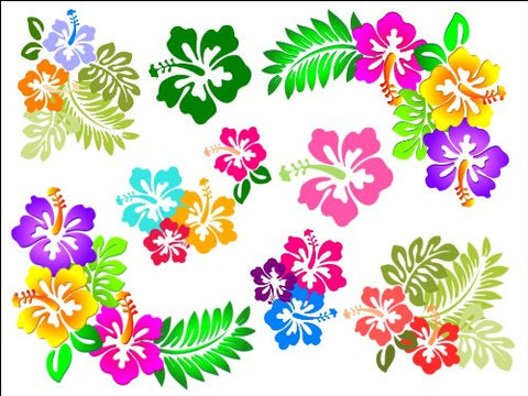 "10"" x 7.5"" Hibiscus Flower Cake Toppers Decorations on Edible Wafer Rice Paper"