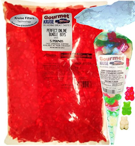 Albanese Watermelon Gummi Bears 5LB Bag With Green Apple Red Wild Cherry And White Strawberry Banana Gummy Bears Gourmet Kruise Signature Gift Bag 11 OZ (NET WT 5 LBS.11OZ) 2 Item Bundle