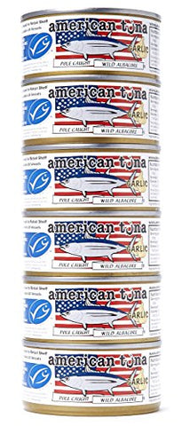 American Tuna MSC Certified Sustainable Pole & Line Caught Albacore Tuna, 6oz Can w/ Garlic, Caught & Canned in America (6 Pack)