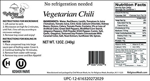 Religious Meals Vegetarian Chili 12 Oz. Pack Of 1.