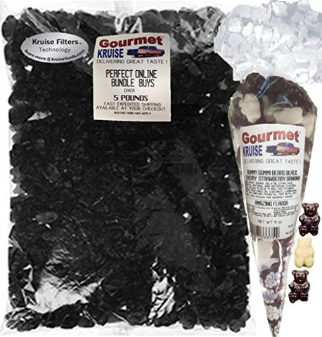 Albanese Black Cherry Gummi Bears 5LB Bag With Black Cherry And White Strawberry Banana Gummy Bears Gourmet Kruise Signature Gift Bag 11 OZ (NET WT 5 LBS.11OZ) 2 Item Bundle