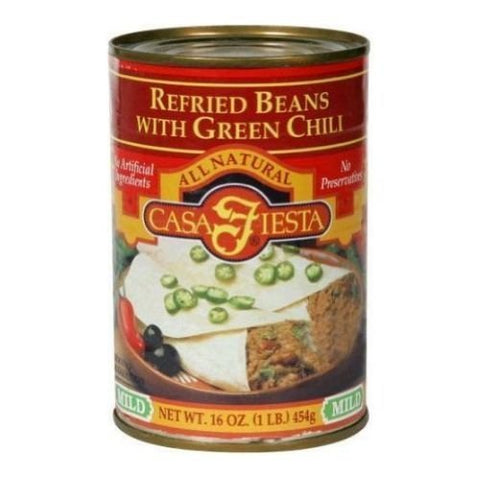 Casa Fiesta, Refried Beans, Chili, Pack of 12, Size - 16 OZ, Quantity - 1 Case