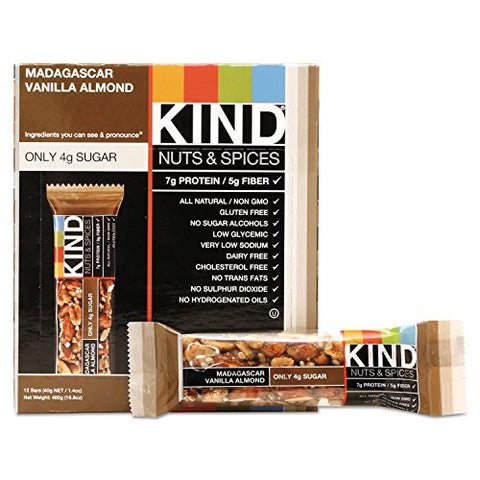 - Nuts and Spices Bar, Madagascar Vanilla/Almond, 1.4 oz, 12/Box