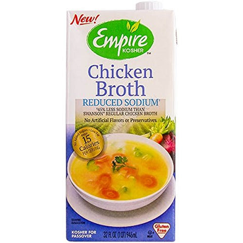 Empire Kosher Poultry, Chicken Broth, Reduced Sodium, Pack of 12, Size - 32 FZ, Quantity - 1 Case