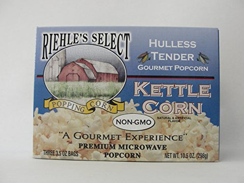 "Riehle's Select Popcorn ""Hulless"" Kettle Microwave Popcorn"