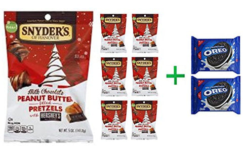 Snyders of Hanover Pretzels with Hersheys Peanut Butter Filled Milk Chocolate - 5 Oz (7 PACK)+ OREO Cookies Sandwich Chocolate - 14.3 Oz (2 PACK)
