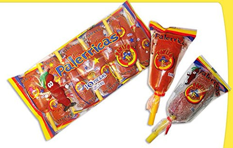 1x Pavito Palerricas Dulce De Tamarindo -Tamarind Mexican Lollipops Candy 10 Pcs in each bag for a total Net Wt. 2.2 LB