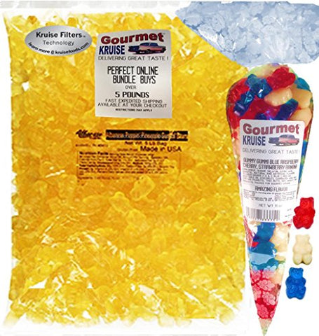 Albanese Mango Gummi Bears 5LB Bag With Blue Raspberry Red Wild Cherry And White Strawberry Banana Gummy Bears Gourmet Kruise Signature Gift Bag 11 OZ (NET WT 5 LBS.11OZ) 2 Item Bundle