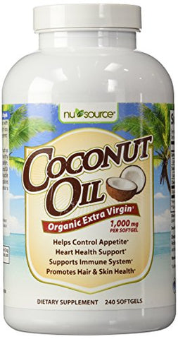 NuSource Coconut Oil Dietary Supplement, 240 Count