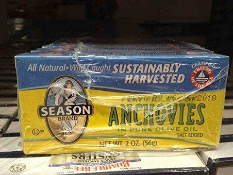 Season flat anchovies in pure olive oil 6/2 oz (pack of 2)