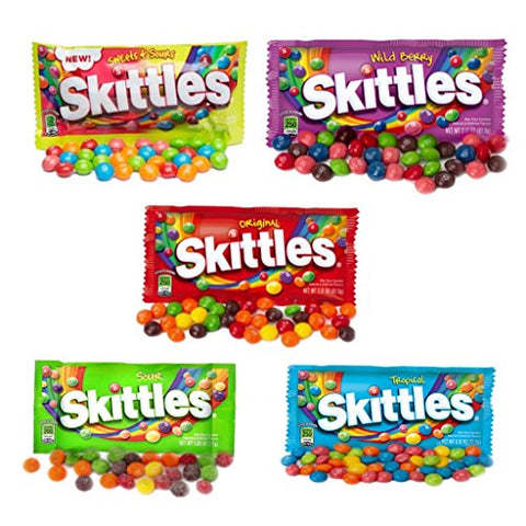 All American Skittles Assortment 5 Flavors 5 packs - EZ-SHIP Pack