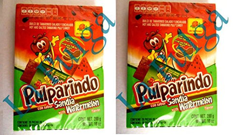 2 - Pulparindo Watermelon Flavor Hot & Salted Mexican Tamarind Pulp 20 pcs each