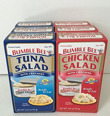 Bumble Bee Ready To Eat Salads 3.25oz - 6 Pack Assortment, 3 Chicken Salad & 3 Tuna Salad