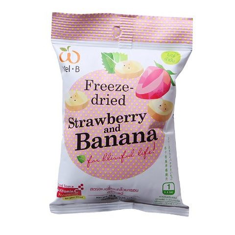 Wel-B Freeze-dried Strawberry and Banana, Freeze-dried Fruit Snack Unsweetened and 0% Fat, Real Healthy Snack 15g.