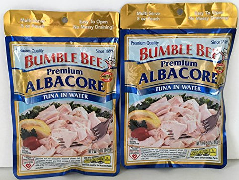 Bumble Bee Premium Albacore Tuna In Water 5 Oz Pouch (2 Pack - 10 Oz Total)