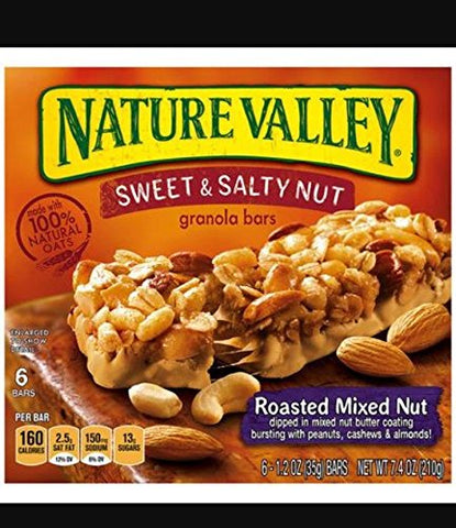 - Nature Valley Sweet & Salty Roasted Mixed Nut Granola Bars 7.4 oz