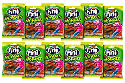 Mimi's Sweets Worms Soft and chewy clear gummy worms in assorted flavors. (12pk x 3.5oz/100g) - Kosher/Halal