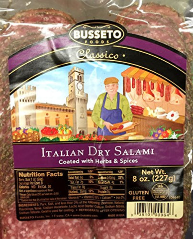 8oz Busseto Classico Italian Dry Salami Coated with Herbs & Spices, Deli Thin Sliced, One Bag