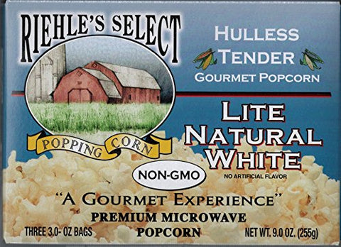 "Riehle's Select Popping Corn ""Hulless"" Natural Lite Microwave Popcorn"