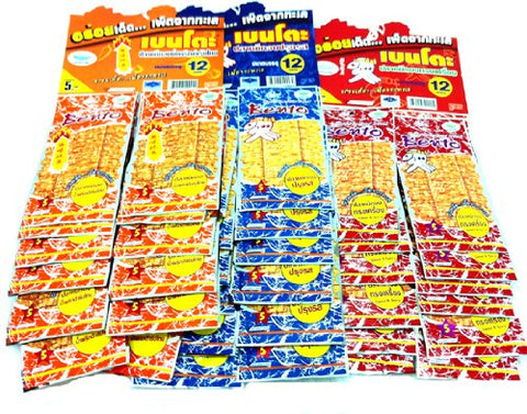 100 Packs Bento Bake Seasoned Squid & Surimi Seafood Snack Hot Mix 3 Flavors Product of Thailand