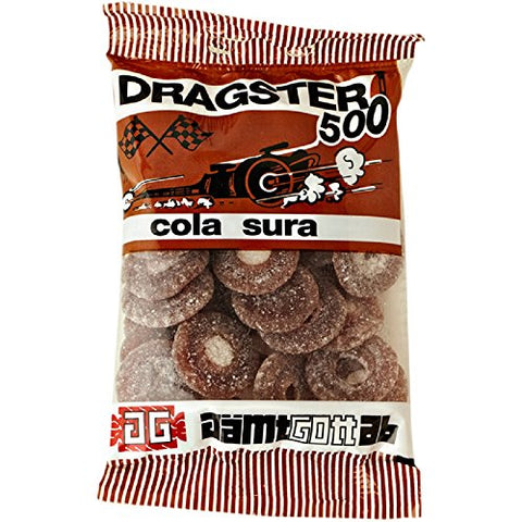 25 Bags x 50g of Dragster 500 Cola Sura - Original - Swedish - Cola Sour - Wine Gums - Candies - Sweets