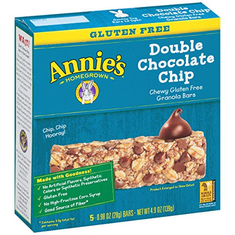 Annie's Gluten Free Double Chocolate Chip Granola Bars, 5 Count (Pack of 12)