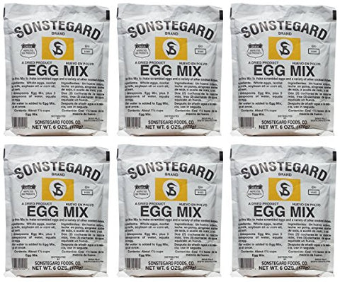Powdered Eggs Dried Egg Mix for Scrambled Eggs, Baking, Camping 6 oz by Sonstegard (Pack of 6)