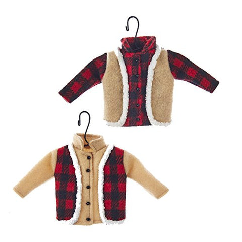 Kurt Adler 2 Assorted 4.3 Inch Fabric Hunting Clothes Plaid Shirt And Vest,  Tan Shirt