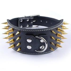 3 Inch Wide Spiked Leather Collar for Pit Bulls