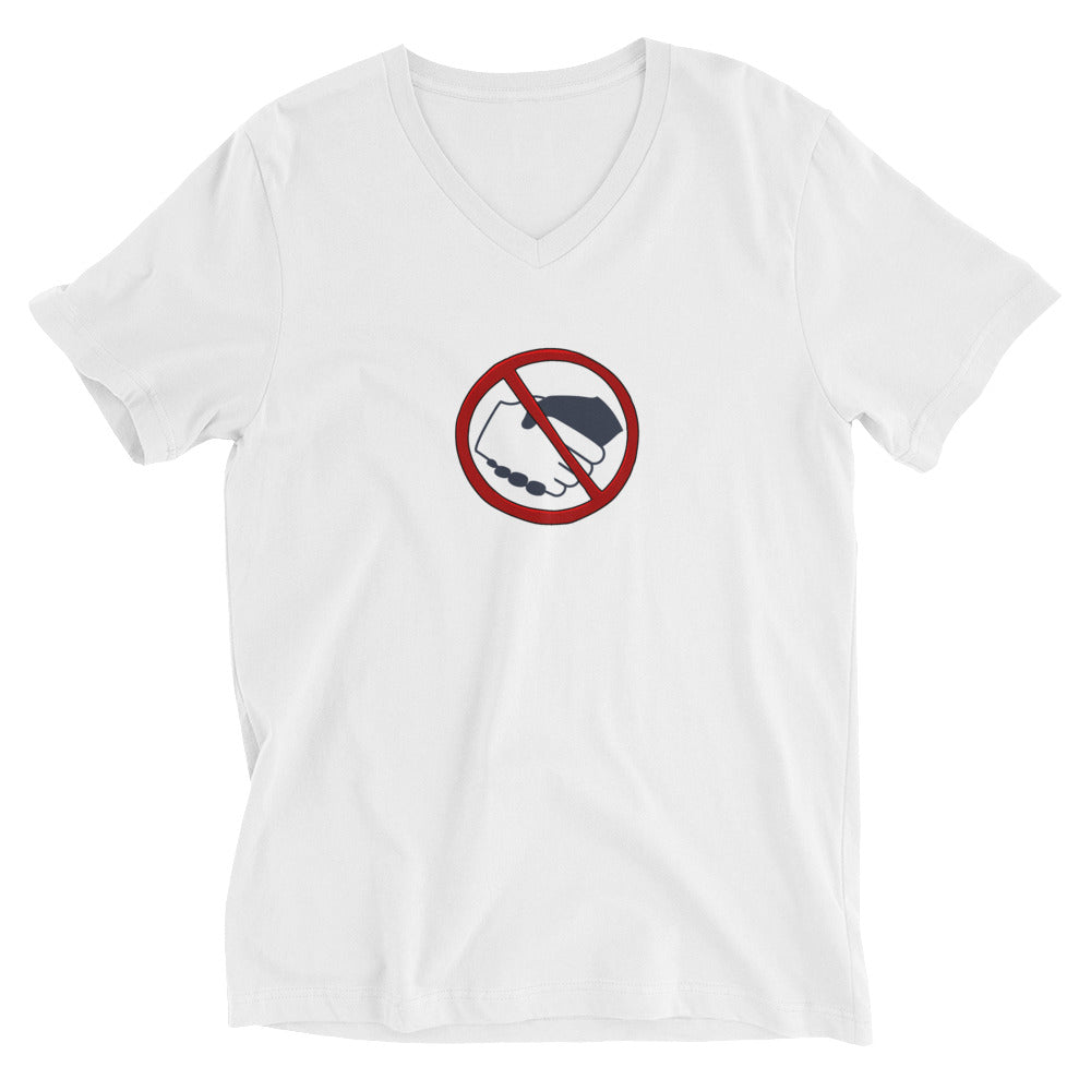 Unisex Short Sleeve V-Neck T-Shirt - No Hands